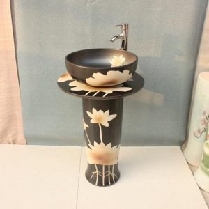 YL-TZ-0014 Black solid color hand carving lotus pattern pedestal ceramic vanity