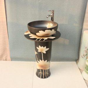 YL-TZ-0014 Black solid color hand carving lotus pattern pedestal ceramic vanity