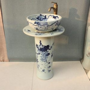 YL-TZ-0016 Grape pattern blue and white pedestal free stand hand wash sink