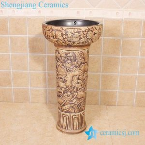 YL-TZ-0020 Double layer mandarin ducts and lotus relief sculpture pedestal wash basin sink bowl