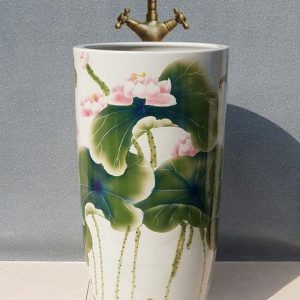 YL-TZ-0021 Free stand deep dimension colored lotus flower pattern ceramic pedestal sink
