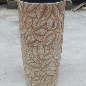 YL-TZ-0023 Hand carving leaves black solid color inside clay ware pedestal sink
