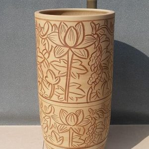 YL-TZ-0026 Hand engraving lotus flower pattern china ware pedestal sanitary ware