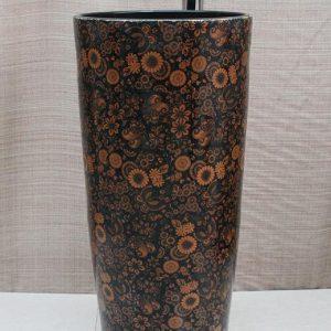YL-TZ-0028 Floral pattern black ceramic pedestal vanity sink for toilet
