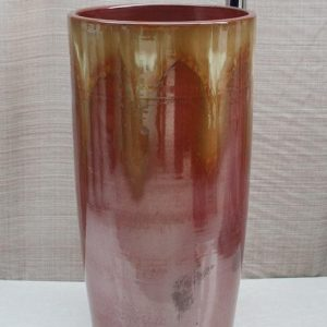 YL-TZ-0030 Red transmutation glazed ceramic pedestal sink