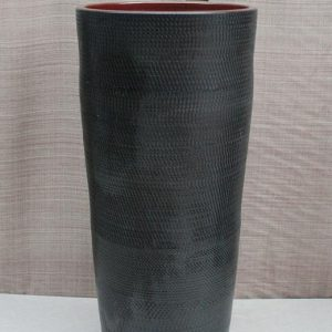 YL-TZ-0033 Black high heel ceramic pedestal cylinder sink basin