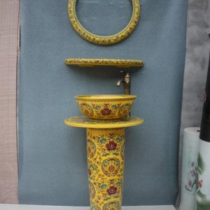 YL-TZ-0042 Chinese emperor style yellow pedestal ceramic sink basin bowl with mirror frame and dresser