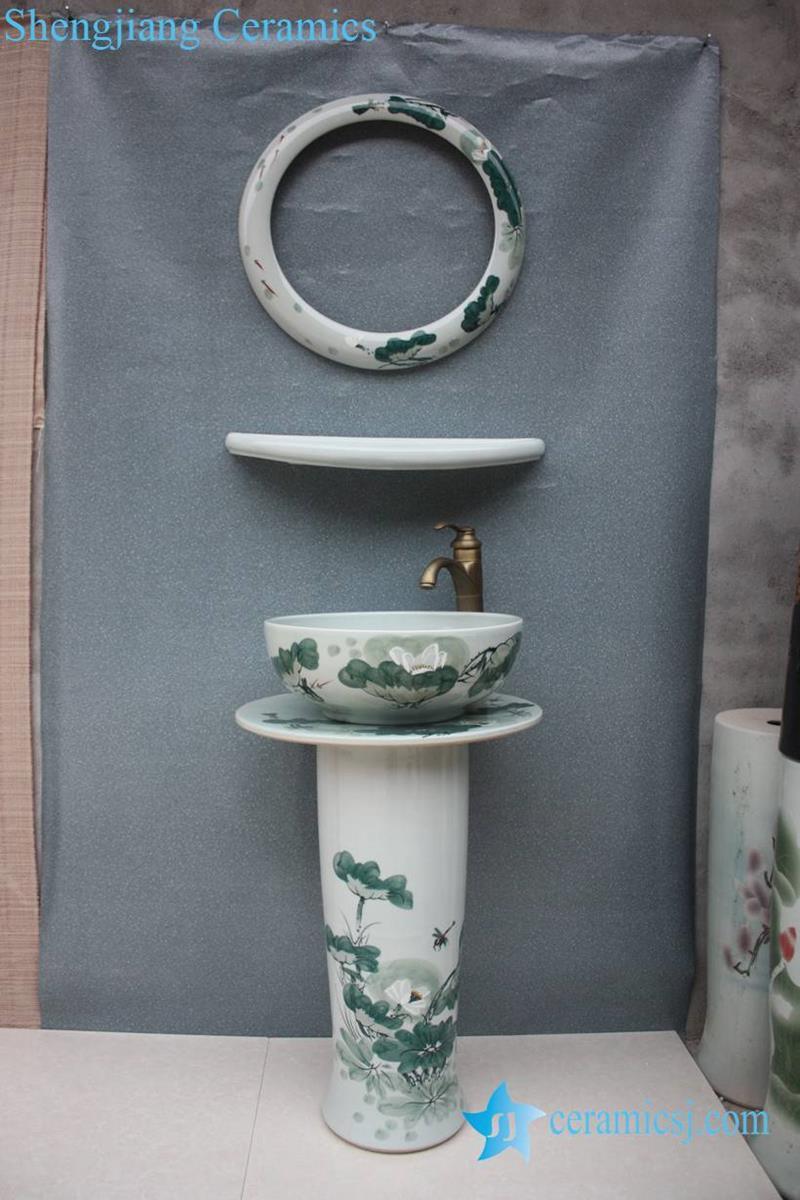 Elegant Chinese Lotus Flower Painting Design Ceramic Pedestal Sink Basin  Bowl With Mirror Frame And Dresser