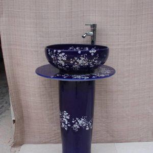 YL-TZ-0046 Flow blue glaze white plum flower pattern irregular shape sinks with stand