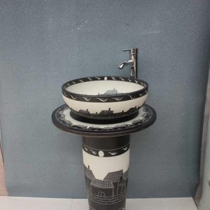 YL-TZ-0047 Black and white solid color industrial price ceramic wash basins with pedestal