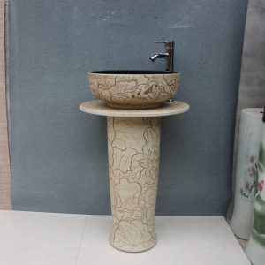 YL-TZ-0053 Clay ware hand carved pattern black solid color inside contemporary art pedestal basin