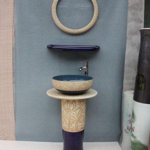 YL-TZ-0054 coloured bathroom basins hand carved lotus style pedestal ceramic wash basin with stand, mirror frame,dresser table