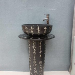 YL-TZ-0055 Black solid color Chinese calligraphy toilet ceramic pedestal wash hand basin with stand