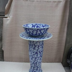 YL-TZ-0060 Blue and white gorgeous plum flower pattern large size counter ceramic pedestal bathroom vanity unit
