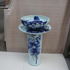 YL-TZ-0063 blue and white ceramic pedestal sink for garden, bathroom, hotel, toilet