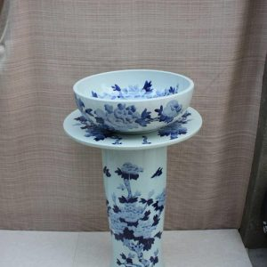 YL-TZ-0065 Blue and white butterfly and peony pattern round jingdezhen ceramic pedestal sink basin