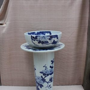 YL-TZ-0066 Bathroom supplier Blue and white ceramic pedestal sink basin bowl