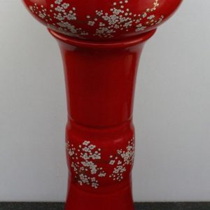 YL-TZ-0069 Bright red colored and beautiful plum blossom pattern pedestal lavatory sink