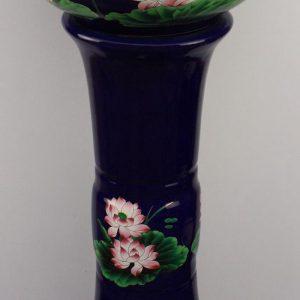 YL-TZ-0070 Craig blue glazed lotus pattern ceramic wash basin with stand