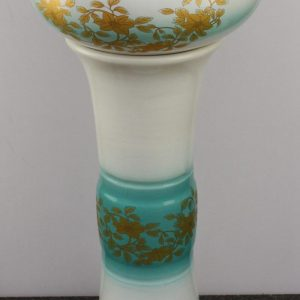 YL-TZ-0071 Light blue ground golden leaves and flowers pattern deep ceramic pedestal sink for laundry
