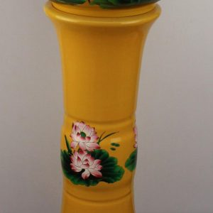 YL-TZ-0073 Bright yellow colored and beautiful lotus flower pattern ceramic pedestal sink basin