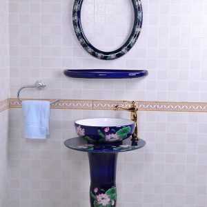 YL-TZ-0075 Bright blue colored and beautiful lotus pattern ceramic pedestal sink basin with stand, mirror frame and dresser