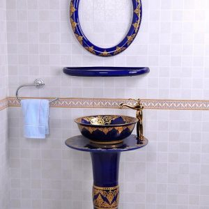 YL-TZ-0076 Nordic style golden plated blue contemporary art ceramic pedestal sink basin