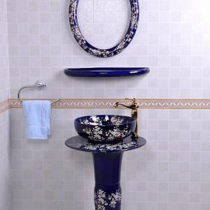 YL-TZ-0077 Bright blue colored and beautiful plum blossom pattern ceramic pedestal sink basin