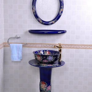 YL-TZ-0078 Flow blue glazed fancy peony flower pattern pedestal ceramic sink basin bowl