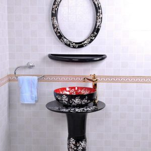 YL-TZ-0079 Black glazed fancy plum blossom pattern pedestal ceramic sink basin bowl