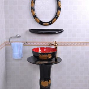 YL-TZ-0080 Bright black colored and beautiful golden peony flower pattern ceramic pedestal sink basin