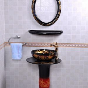 YL-TZ-0081 Bright black colored and beautiful golden flower branch pattern ceramic pedestal sink basin