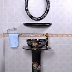 YL-TZ-0082 Bright black colored and beautiful peony flower branch pattern ceramic pedestal sink basin with stand, mirror frame and dresser