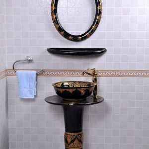 YL-TZ-0083 Nordic style golden plated black contemporary art ceramic pedestal sink basin with stand, mirror frame, dresser