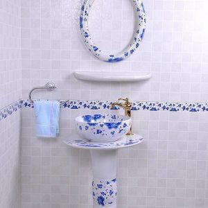 YL-TZ-0085 Elegant ceramic composite bathroom sink with pedestal foot, mirror frame and dresser