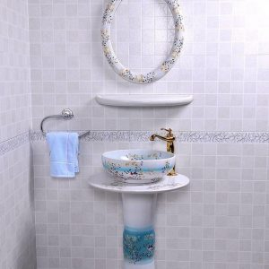 YL-TZ-0088 High quality ceramic bird flower branch pattern white pedestal foot porcelain round sink basin bowl with mirror frame, dresser