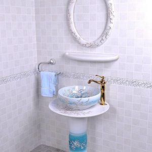 YL-TZ-0090 Flow blue plum blossom pattern white ceramic freestanding sanitary ware