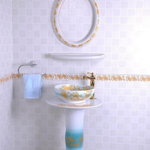 YL-TZ-0091 Middle east style golden plated blue luxury contemporary art ceramic pedestal sink basin