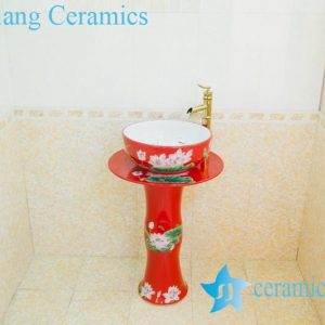 ZY-0002 High quality middle east style ceramic red lotus flower pattern pedestal foot porcelain round sink basin bowl