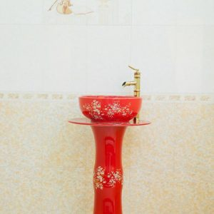 ZY-0003 Bright red surface plum blossom pattern gorgeous ceramic freestanding sanitary ware