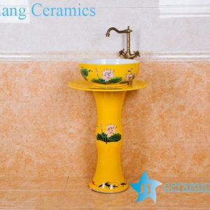 ZY-0004 bathroom supplies Middle east style luxury contemporary art mustard color ceramic pedestal sink basin