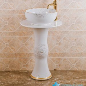 ZY-0005 Nordic style golden flower plated vitreous china contemporary art ceramic pedestal round sink basin bowl