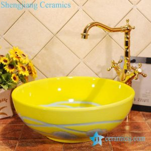 ZY-0006 Bright yellow round ceramic composite sink bowl