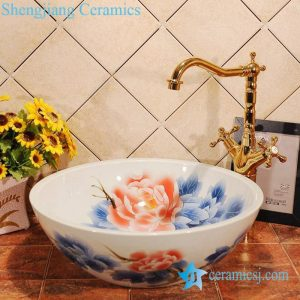 ZY-0008 Peony flower pattern blue and white ceramic bath sink