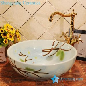 ZY-0011 Hand carving Lily flower light blue ceramic bathroom sink bowl