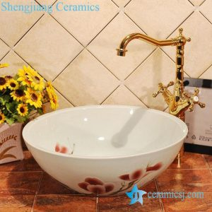 ZY-0012 Magnolia flower pattern ceramic sink for small bathroom