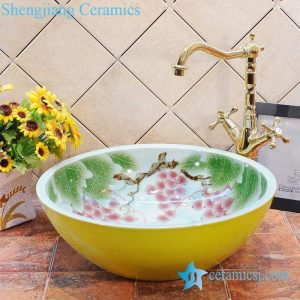 ZY-0019 Grape pattern yellow outside wall bathroom ceramic wash hand rinse