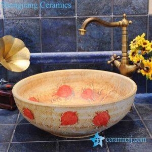 ZY-0021 Maple leaf round wall mount bathroom ceramic sink