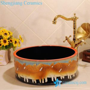 ZY-0024 Bull design hand carving yellow bathroom ceramic sink corner