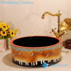 ZY-0024 Bull design hand carving yellow bathroom ceramic sink corner